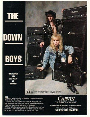 1990 Erik Turner Joey Allen Warrant Photo Carvin Amps Print Ad (Music Memorabilia) (Erik Turner)