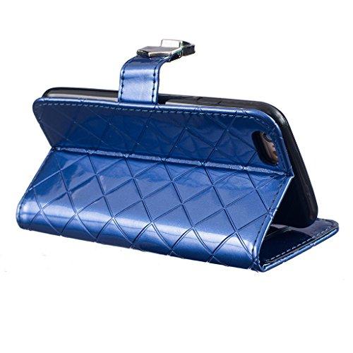 Uming® Dibujo de estampado liso Patrón de la serie de caja de la PU de la pistolera Caso Holster case ( White Metal Button - para Samsung Galaxy S6Edge G925 ) de cuero artificial del tirón con el sopo Blue Metal Button