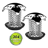 Drain Catcher, Drain Hair Strainer, Good Grips Stainless Steel Drain Protector Anti-Rust Anti-Mold Shower/Bathtub for Fast Water Drain, Durable Use, Support Drain Size from 1.35'' to 1.75'' (2 Pack)