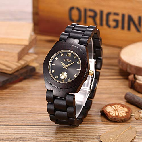 Wooden Watch Women, GBlife Natural Wood Watches with Black Dial Golden Pointers, Adjustable Lightweight Wood Band, Casual Retro Wooden Quartz Wristwatch (Ebonywood) by GBlife (Image #1)