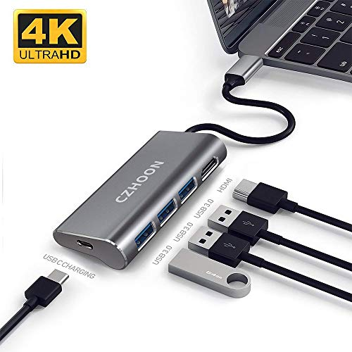 USB C to USB Hub, CZHOON Portable Aluminum USB Type C Adapter with 3 USB 3.0 ports USB C to 4K HDMI & USB C Charging Port, Compatible with MacBook Pro Nintendo Switch and Windows Type C Laptops - Grey