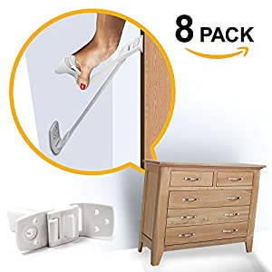 Ella's Furniture and TV Anti Tip Straps | Adjustable Earthquake Resistant Straps | Best Wall Anchor | Protection For Children | Baby Proof & Extra Strong ABS Kit (8 Pack)