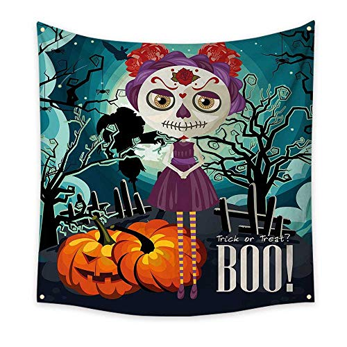 Halloween Simple Tapestry Cartoon Girl with Sugar Skull Makeup Retro Seasonal Artwork Swirled Trees Boo Unique Tapestry Multicolor 63W x 63L Inch