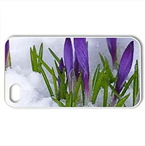 Crocuses in the Snow - Case Cover for iPhone 4 and 4s (Flowers Series, Watercolor style, White)