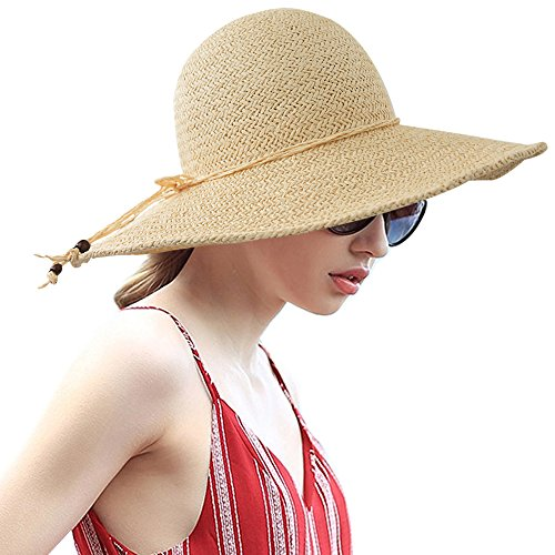 LETHMIK Summer Beach Straw Hat Womens Wide Brim Floppy Packable Sun Hat 2018 Beige
