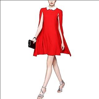 GODISLOVE Vestito dal Risvolto di Moda, Mantello Confezione Slim Hip Dress - Rosso, Red, l