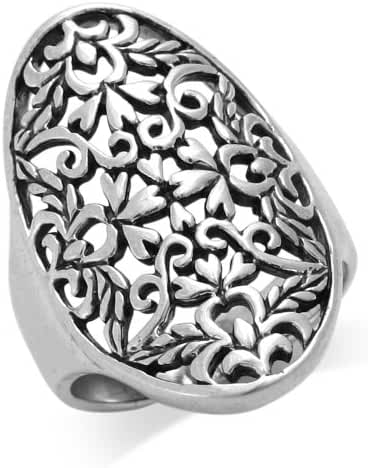 MIMI Sterling Silver Huge Long 29MM Detailed Scroll / Filigree Ring
