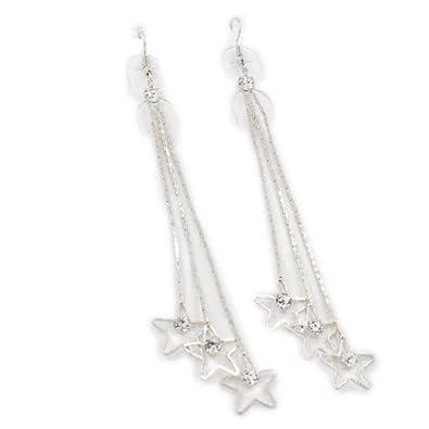 8686ffcc8 BIMAGE Women Girl Rhinestone Long Chain Tassel Drop Dangle Earrings/Casual  Hollow Star Hook Eardrop/Artificial Diamond Charm Drop Earrings Fashion  Elegant ...