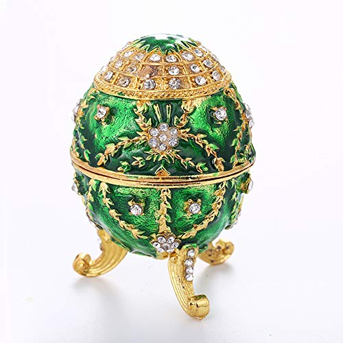 (GANGTU Faberge Egg Jewelry Organizer,Hand Painted Enameled Faberge Egg Vintage Style Decorative Hinged Jewelry Trinket Box (Green))