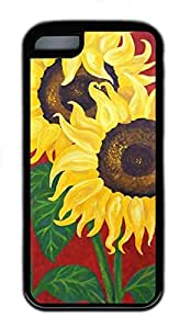 iPhone 5C Case, Noble Sunflowers Personalized Slim Protective Soft Rubber Black Edge Case Cover for Apple iPhone 5C