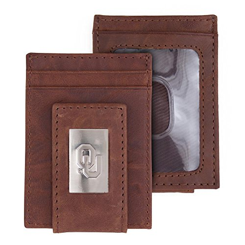 Eagles Wings University of Oklahoma Sooners Wallet Front Pocket Leather Wallet ()
