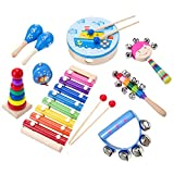 SHANNA Baby Musical Instruments Set Wooden Toy Percussion Instrument Toys Rhythm Band Set Baby Toy Gift for Toddlers Kids Preschool Children (9 pieces set)