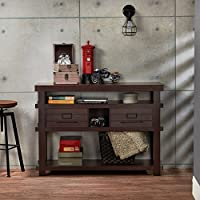 Furniture of America Sylvan Rustic Plank Style Espresso 2-drawer Console/Sofa Table