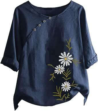 Anoud Women Plus Size Long Sleeve Cotton Linen Round Neck Print Blouse Top Female Shirt Tunics
