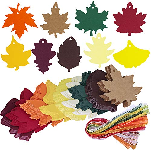 Supla 180 PCS 9 Colors Fall Autumn Maple Leaves Shape Favors Tags Gift Tags Hang Tags Tags Gift Name Tag Blank Cards Place Cards 3.2