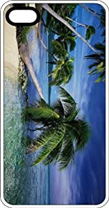 taoyix diy Leaning Palm In Tropical Island Paradise White Plastic Case for Apple iPhone 5 or iPhone 5s
