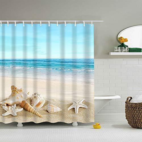 - J-MOOSE Blue Sky Tropical Beach Shower Curtain Starfish Conch Seashell Shower Curtains - Waterproof Fabric Polyester Bathroom Decor Ocean Shower Curtain(Starfish Shell, 72