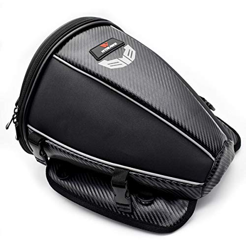 WOSAWE Motorcycle Tail Bag PU Leather Water Resistance Sports Motorbike Seat Bag