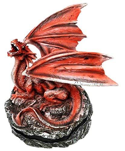 - Roaring Meteor Volcano Red Dragon Back Cone Incense Burner Sculpture Figurine