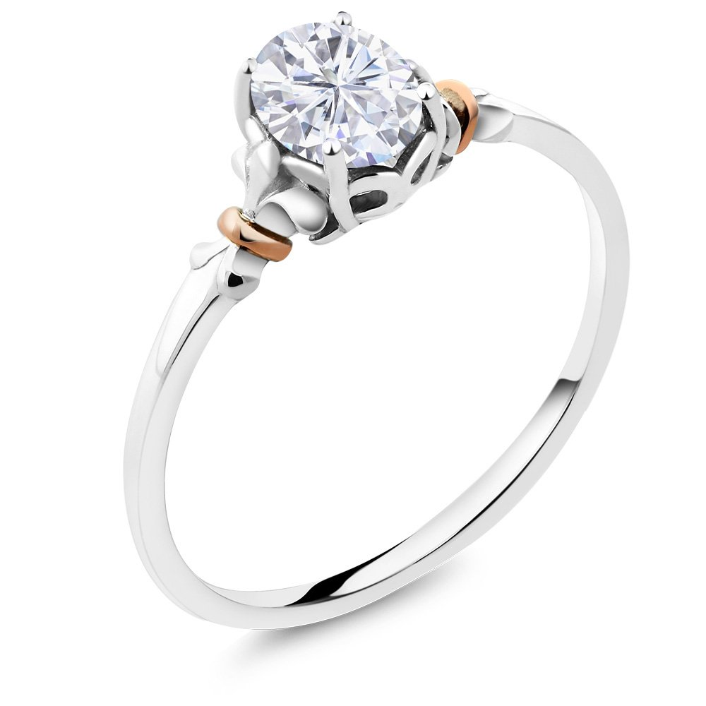 925 Sterling Silver and 10K Rose Gold Ring Oval White Created Moissanite (0.84 cttw, Available in size 5,6,7,8,9)
