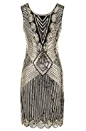 Women 1920s Sequin Beaded Tassels Hem Flapper Dress with 20s Headband Accessories Set