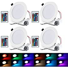 LED Recessed Lighting, 4 Inch 10W RGB Recessed Light Color Changing w/ Remote Control LED Ceiling Panel Light 4 Pack