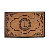 A1 Home Collections First Impression Hand Crafted Abrilina Entry Coir Monogrammed Double Doormat, 72'' L x 36'' W, X-Large
