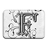 vintage floral imports - Unisex Woman Man's Gothic Fashioned F Large Letters With Swirling Vintage Floral Blooms Import Door Mat