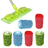 Microfibre Mop Pads, 6 Pieces Spry Mop Cleaning Pads, Microfiber Hardwood and Floor Cleaning Pad Replacement Heads for Wet/Dry Mops