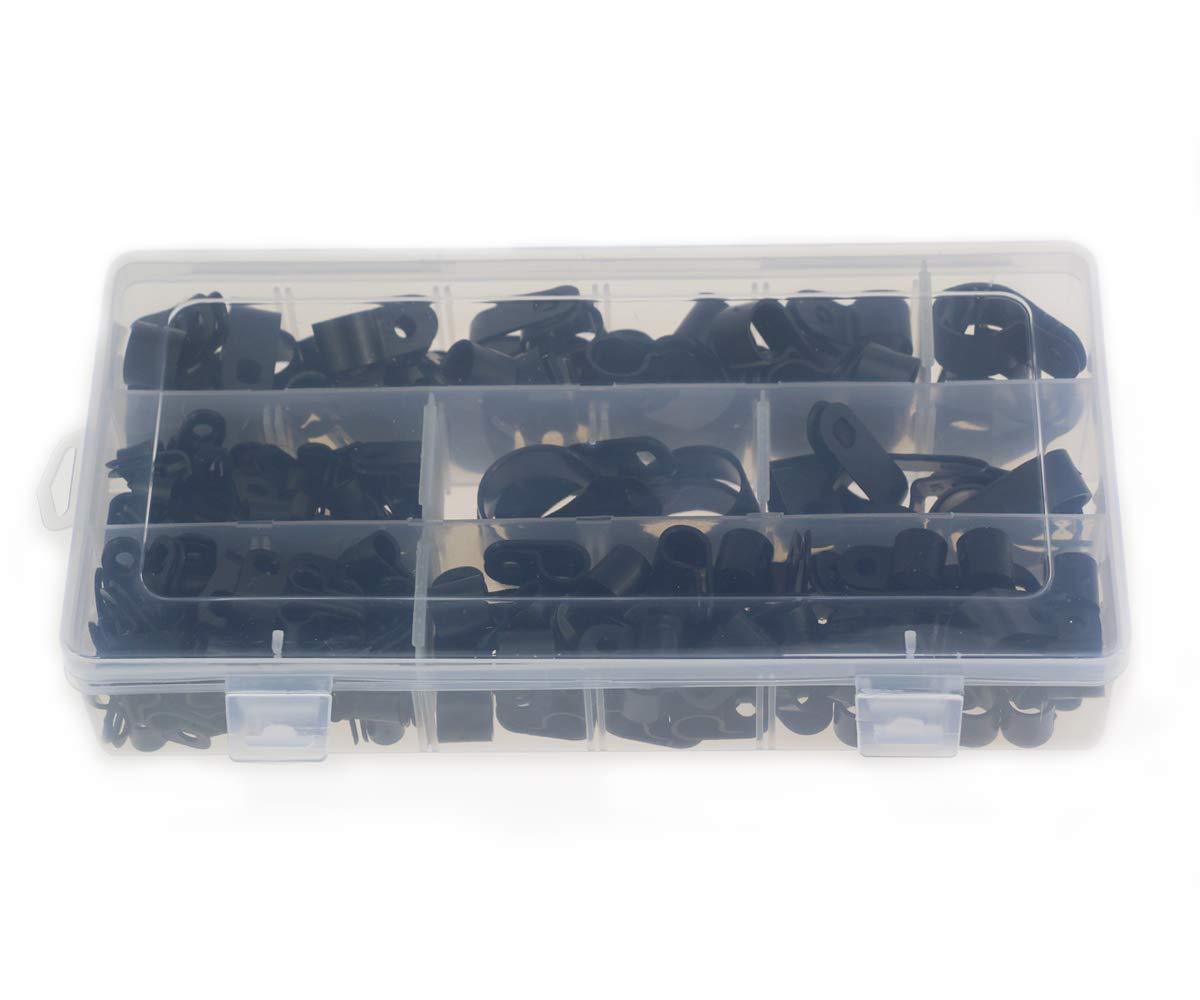 Elementi di fissaggio per conduit tubi e manicotti /Ø 5//6//9//12//19 // 25mm Clip in plastica nylon da 200 pezzi cavi