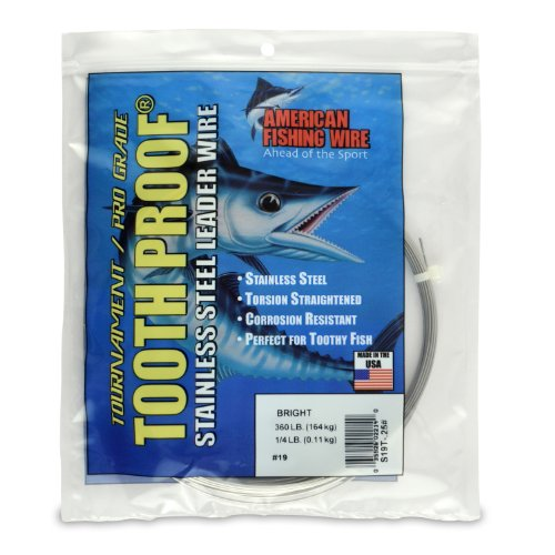 American Fishing Wire Tooth Proof Stainless Steel Single Strand Leader Wire, Size 19, Bright Color, 360 Pound Test, 1/4 Pound Coil