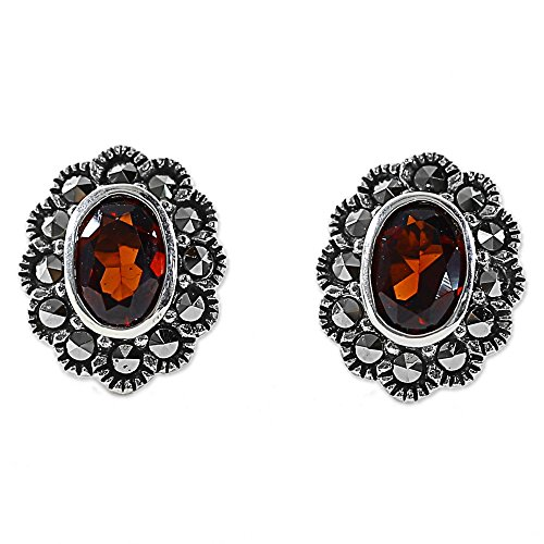NOVICA Garnet and Marcasite .925 Sterling Silver Flower Stud Button Earrings, Red Lotus Flowers' (Silver Marcasite Flower Earrings)