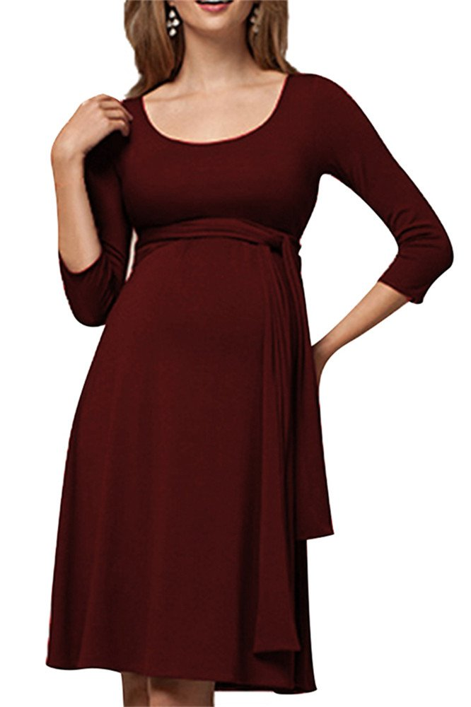 YINJIONG Women's Cotton Maternity 3/4 Sleeve Nursing Dress