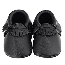 Susenstone Baby Kids Tassel Soft Sole Leather Shoes Infant Toddler Shoes (12, Black)