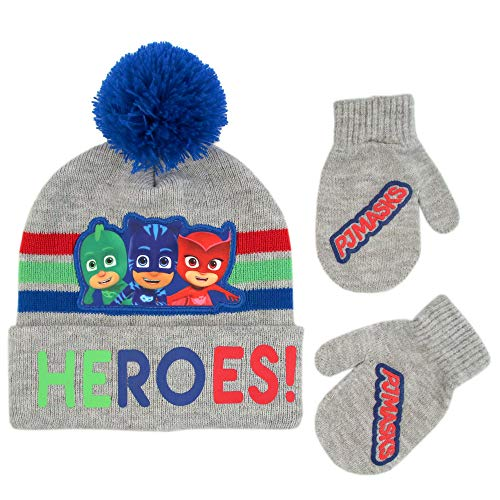 (PJ Masks Boys' Toddler Assorted Characters Beanie Hat and Mittens Cold Weather Set, grey/blue, Age 2-4)