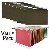 Hanging File Folders Frame, Stainless Steel, Adjustable Length - with 25 Hanging File Folders, Green, Letter Size - Value Set
