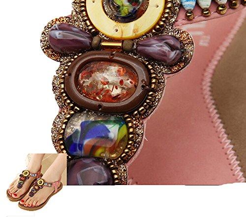 flip Flops perles Sandales Tongs dames Bohême été Flattie Ohmais pink fille plat femmes sandale avec Bq4nzwO0f