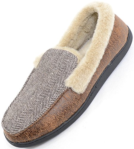 Mens Herringbone Design Moccasin Style Slippers with Warm Faux Fur Lining and Cuff Brown