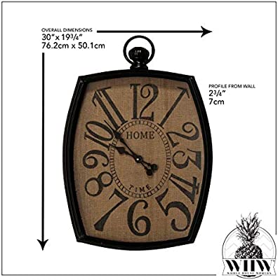 Home Time Imprint Farmers Market Burlap Clock Iron Frame Black and Brown Rustic Reclaimed Style Over 2 1//2 Feet Tall 19 3//4 L x 2 3//4 W x 30 H Inches 1 AA Battery Required
