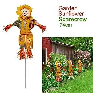 Prime Qualität (Everything You Need) - Figura decorativa para jardín (74 cm), diseño de girasol espantapájaros, naranja