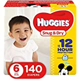 HUGGIES Snug & Dry Diapers, Size 6, 140 Count, ECONOMY PLUS (Packaging May Vary)