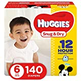 HUGGIES Snug & Dry Baby Diapers, Size 6 (fits 35+ lbs.), 140 Count, ECONOMY PLUS (Packaging May Vary)