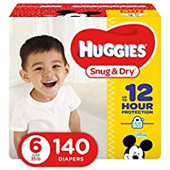 HUGGIES Size Six Snug & Dry Diapers give your baby great protection at a great value. Four layers of protection absorb moisture quickly to help stop leaks for up to 12 hours, and a quilted liner helps to keep your baby dry and comfortable...