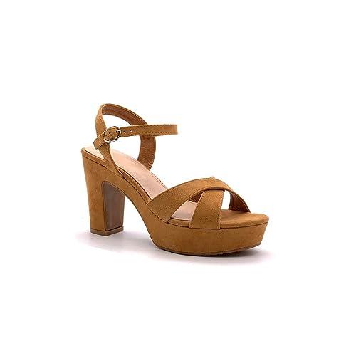 c5228475d8 Angkorly - Scarpe Moda Sandali Espadrillas con Cinturino alla Caviglia  Comfortable Matrimonio Cerimonia Donna Cinghie Incrociate