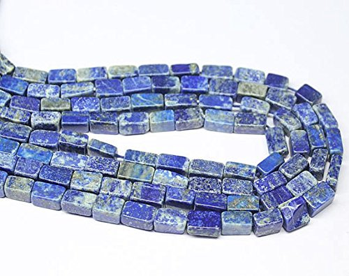 Natural Blue Lapis Lazuli Smooth Rectangular Cube Gemstone Loose Craft Beads Strand 12' 5mm 9mm SHRI NATH GEMS & JEWELLERY