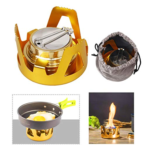 Mini Alcohol Stove, X.Store Portable Aluminium Alloy Brass Mini Alcohol Burner for Outdoor Camping, Hiking, Backpacking (Height Flame Burner Control Variable)