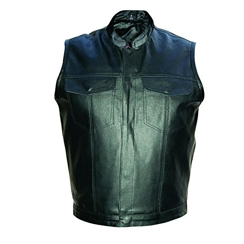 Cowhide Leather Vest (Men's Split Cowhide Leather Vest Denim Style with Gun Pocket (XL))