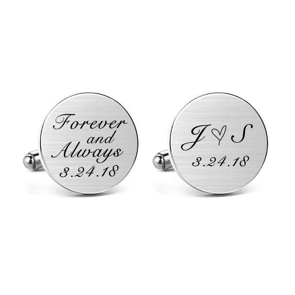 MUEEU Wedding Cufflink Engraved Forever & Always Custom Date Round Square Groom Tie Clip Tack (Round Cufflinks)