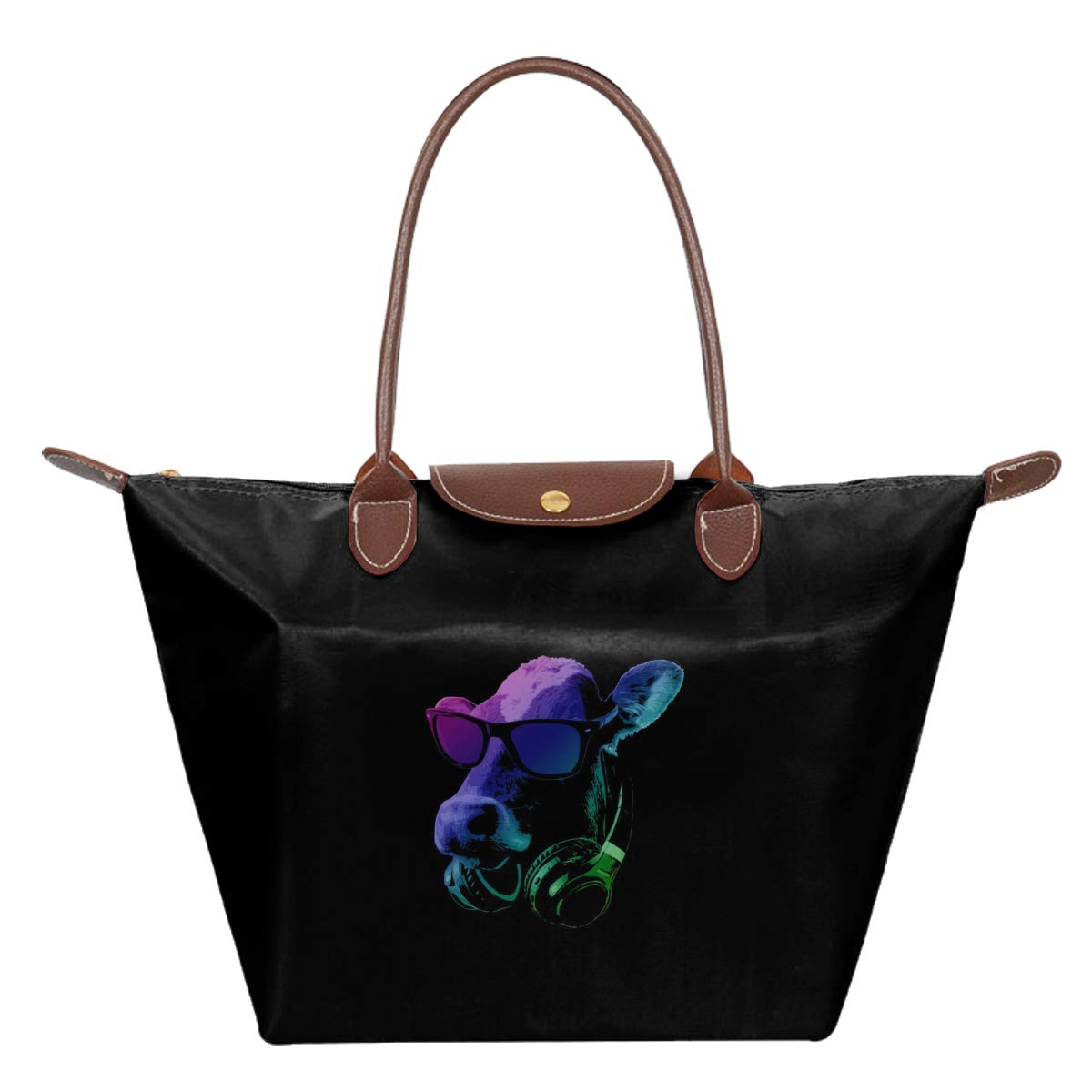 DJ Cow Waterproof Leather Folded Messenger Nylon Bag Travel Tote Hopping Folding School Handbags