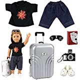 Barwa Lot 7 items = Causl Boy Doll Clothes Shoes Silver Travel Set Suitcase Camera with Sunglasses and Play Card for 18 Inch American Girl Boy Dolls Logan Doll Outfits
